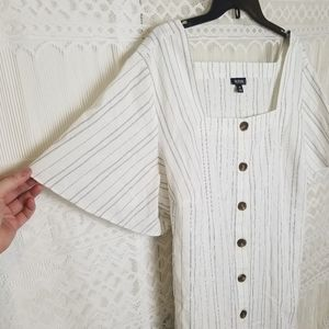 a.n.a White Tunic Black Pinstripe Flowy Sleeves